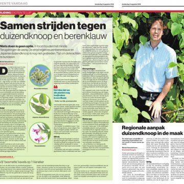 Groenspecialist Walter van Dijk in dagblad Tubantia over invasieve plantensoorten